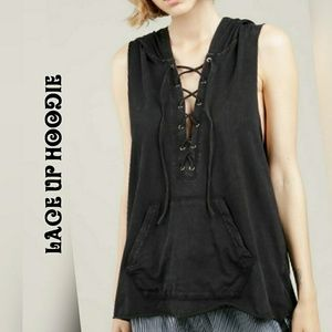 Tops - Sleeveless Lace Up Mineral Wash Hoodie